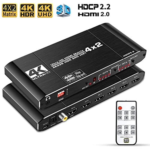 3D 4K@60Hz HDMI 2.0 Switcher Box,4 in 2 Out with IR Remote Controller Supports HDCP 2.2 18Gbps,Ultra HD 4K x 2K HDR Dolby Vision 1080p Black EDID TESmart 4x2 HDMI Matrix Switch Splitter