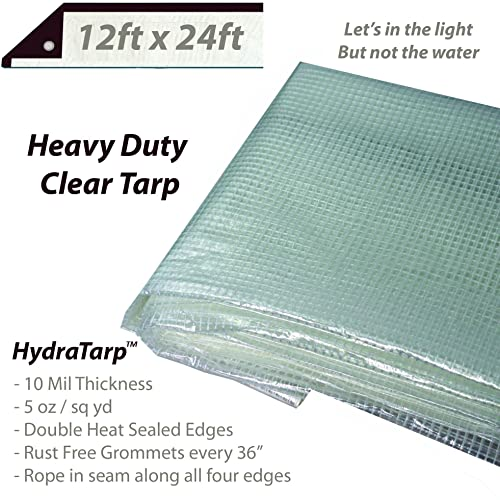 20ft x 30ft UV coated protection for outdoor camping RV Truck and trailers Watershed Innovations Heavy Duty Clear Greenhouse Tarp Premium quality 10 mil with 3x3 Mesh weave for added strength