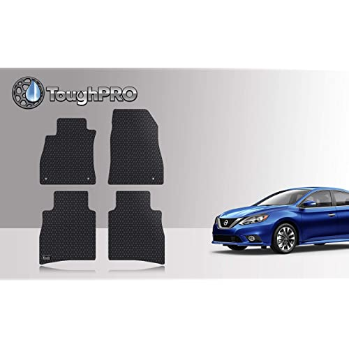 2018 2019 Made in USA 2020 Front Row + 2nd Row Compatible with Alfa Romeo Stelvio All Weather - Black Rubber Heavy Duty - ToughPRO Floor Mats Set