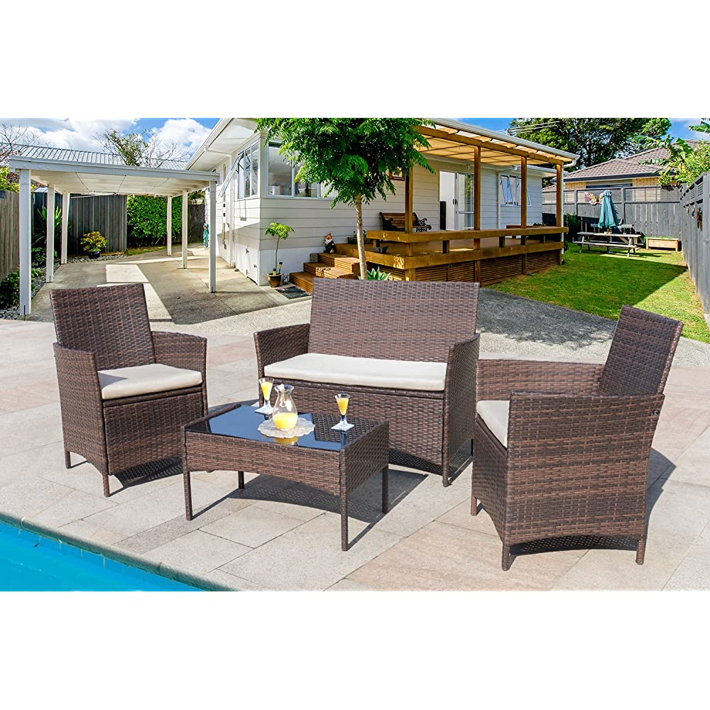 Buy Homall 4 Pieces Outdoor Patio Furniture Sets Rattan ...