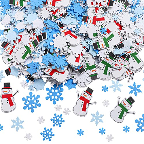 Heboland 500Pcs Christmas Xmas Foam Stickers Glitter Self Adhesive Craft Stickers Bulk with Tree Santa Claus Reindeer Sharps for Kids Party Birthday Holiday Decorations