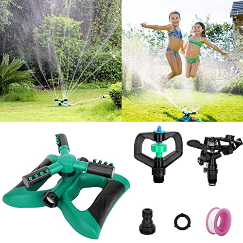 Garden Sprinkler Automatic 360 Rotating Adjustable Garden Water Sprinklers Lawn Irrigation System Covering Large Area with Leak Free Design Durable 3 Arm Sprayer Easy Hose Connection