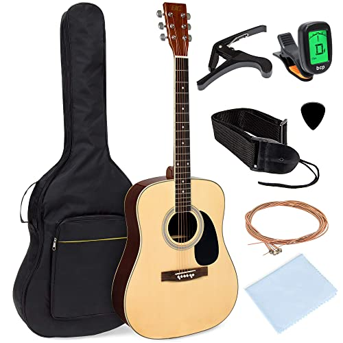 Best Choice Products 41in Full Size All-Wood Acoustic Guitar Starter Kit  w/Foam Padded Gig Bag, E-Tuner, Picks, Guitar Strap, Extra Strings,  Polishing