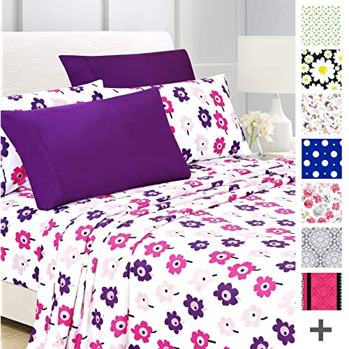 American Home Collection Deluxe 6 Piece Printed Sheet Set Highest Quality  Of Brushed Fabric, Deep Pocket Wrinkle Resistant - Hypoallergenic (Twin,