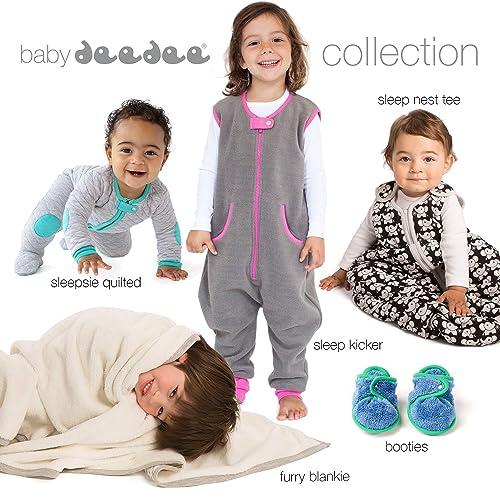 3-6 Months baby deedee Sleepsie Cotton Quilted Footie Pajama Heather Gray//Mauve