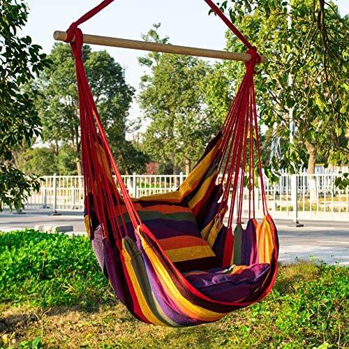 Cctro Hanging Rope Hammock Chair Swing Seat Large Brazilian Hammock Net Chair Porch Chair For Yard Bedroom Patio Porch Indoor Outdoor 2 Seat Cushions Included Buy Products Online With Ubuy