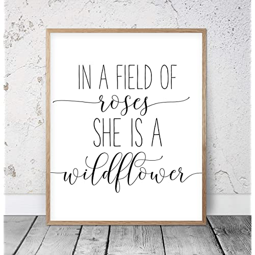 Buy 456yedda In A Field Of Roses She Is A Wildflower Girls Nursery Wall Art Nursery Prints Girls Room Decor Nursery Quotes Baby Girl Wood Pallet Design Wall Art Sign Plaque With