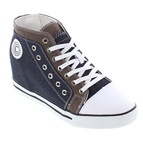 CALDEN K882896-3.8 Inches Elevator Height Increase Blue /& Grey Canvas Sneakers