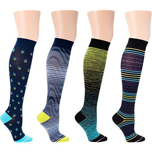 4 Pairs Mens Dr Motion 8-15 Mmhg Graduated Support Compression Knee High Socks /…