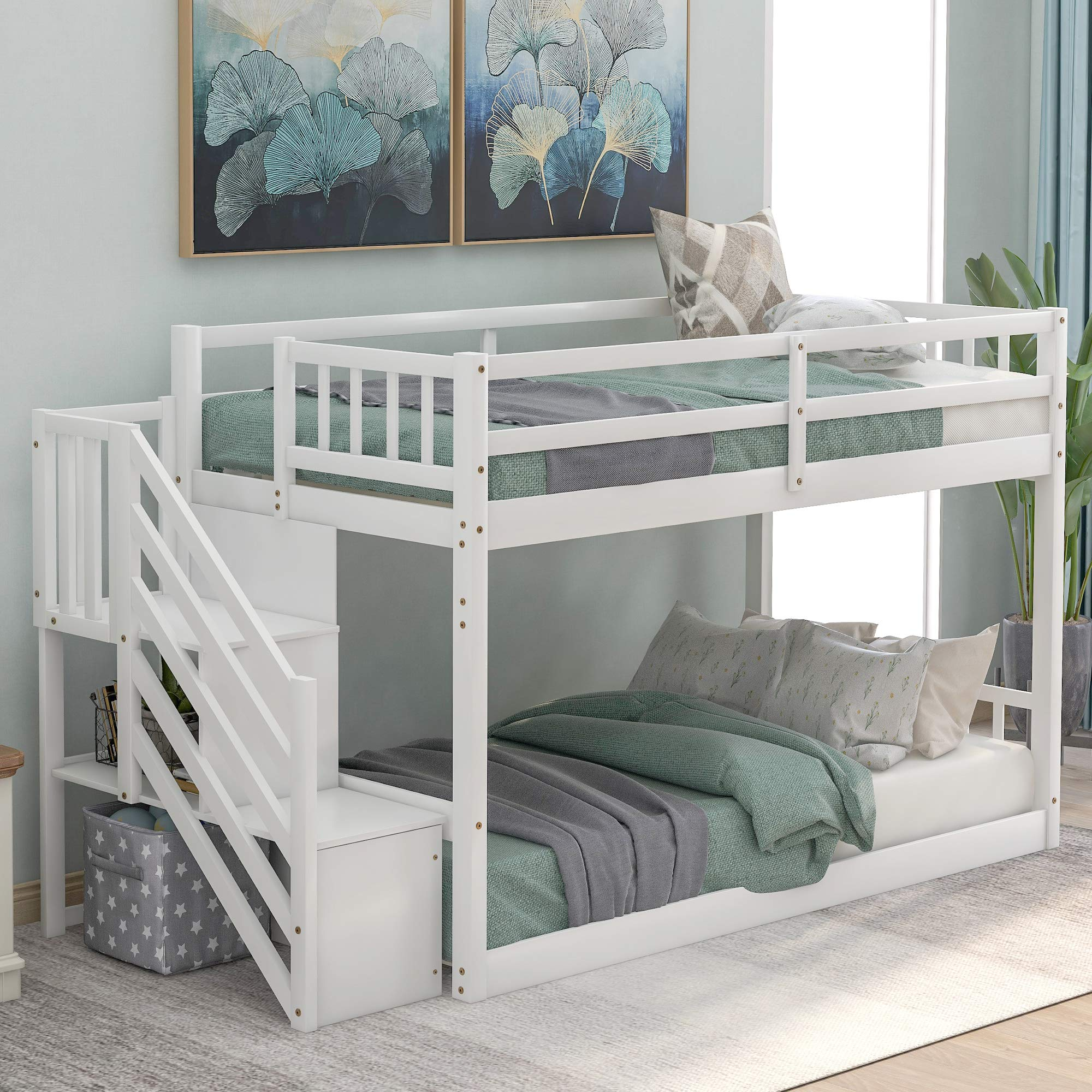 Buy Low Twin Over Twin Bunk Bed For Kids Teens Wood Twin Bunk Bed Frame With Storage Online In Qatar B0879y4z99