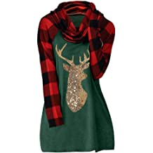 Oversized Long Sleeve Shirts for Women Plus Size EDC Christmas Color Block Deer Printed Crewneck Pullover Sweatshirt Tops
