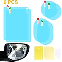 GS Waterproof Anti-fog Car Rearview Mirror Protective Film,Soft Film Universal Car Bus Screen Protector,Anti-glare,Anti-scratch,Rainproof,2pcsOval 10x13.5cm Rear View Mirror See Clear Nano Film