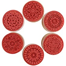 DECORA 6pcs Greeting Round Wooden Rubber Stamp Miss you//For you//Thank you//Love//My Friend//Good Luck