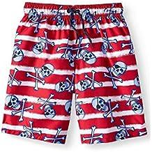 Wonder Nation Boys Ultra Blue /& Island Splattered Swim Shorts