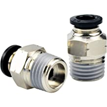 Plastic Tee Push to Connect 8mm or 5//16OD x 3//8 Tube Fittings Male Thread Push Lock Blue 2 Pieces