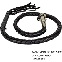 "42 Long 1//2/"" Diameter Black /& White Combination Naked Soft Genuine Leather Motorcycle Get Back Whip"