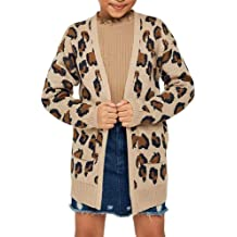 Geckatte Toddler Girls Boyfriend Cardigan Open Front Casual Long Sleeve Outerwear with Pockets