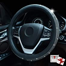 Silver Black Mayco Bell Steering Wheel Cover,with PU Leather Bling Bling Rhinestones Case