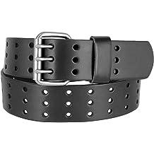 Hagora Mens Black Genuine Leather 1-3//4 Wide Basket Pattern Nickle Buckle Belt
