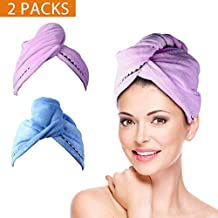 Quick Drying Hair Towel Turbie Twist Wrap Loop Button Hat Turban Shower Bath Cap