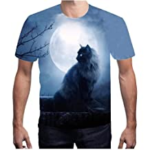 MmNote mens clothes clearance sale Mens Leopard Roar Pattern Breathable Quick-dryShort Sleeve T-Shirt