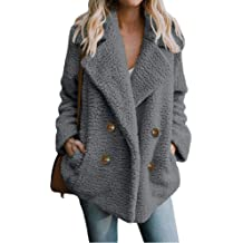 Womens Faux Fur Coat Laimeng/_World Womens Faux Shearing Moto Jacket Oversized Thick Suede Coat with Pockets