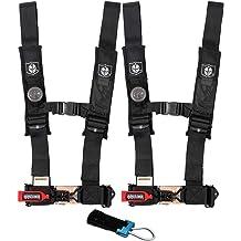 "PRO ARMOR 4 Point Harness 3/"" Pads Seat Belt PAIR W BYPASS BLACK RZR XP1000 XP1"