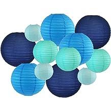 Just Artifacts Decorative 12 Hot Air Balloon Paper Lanterns 5pcs, Sage Green /& White