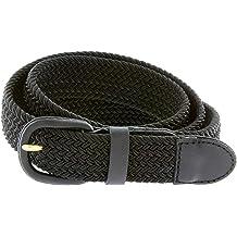 Hagora Men 1-1//8 Wide Genuine USA Bison Leather White Stitch Metal Buckle Belt