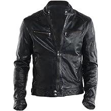 New Men/'s Genuine  Lambskin Leather Black  Motorcycle Bikers Rider Jacket SU038