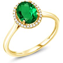 2.43 Ct Oval Simulated Opal Simulated Emerald 18K Yellow Gold Plated Silver Ring