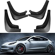 Mixsuper Splash Guards ABS Carbon Fiber Look Mud Flaps for Tesla Model S Molded Custom Fit Front and Rear Fender Cover