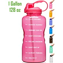 Venture Pal Large 128oz When Full Leakproof Bpa Free Fitness Sports Water Bottle With Motivational Time Marker Straw To Ensure You
