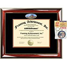 AllGiftFrames Double Certificate Frame Engraved Personalized Dual Two Degree Frame University Glossy Majestik Black Gold Accent Black Matted Dual Two Certificate Frame Graduation Documents Holder