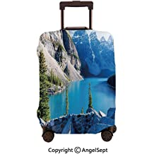 Fashion Travel Suitcase Protector Zipper,Snowy Mountain Peaks Tops High Lands Northern Scenic Alps Panorama Valley White Blue,26x37.8inches,Washable Print Luggage Cover