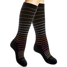 Dr /- Great for Work Nurses Pregnancy Small Travel Running Segals Energy Socks 15-20 mmHg Compression Socks for Women /& Men -Confetti Black//Multicolored