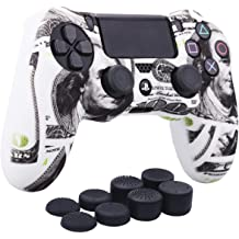 With Pro thumb grips x 8 Comic Graffiti YoRHa Water Transfer Printing Camouflage Silicone Cover Skin Case for Sony PS4//slim//Pro dualshock 4 controller x 1