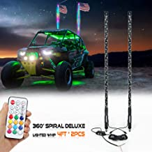 NF NIGHTFIRE 3FT Deluxe 360/° Spiral Chasing Dancing Lighted Whip LED Antenna Light Whips for ATV Safety Flag Light UTV LED Whip for Polaris RZR Sand Buggy Can am X3 w//Remote Control 36 Inch // 1 pc