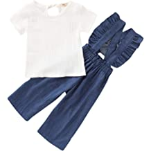 Toddler Baby Girl Plain T Shirts Ruffle Overalls Set Cute Cotton Linen Outfits