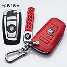 WAYRANK Metal Leather Remote Smart Key Fob Shell with Belt Chain Full Protection for BMW/ 1/ 3/ 4/ 5/ 6/ 7/ Series,/ X3/ X4/ M5/ M6/ GT3/ GT5 Car Key Cover