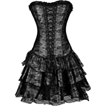 Dainzuy Womens Gothic Steampunk Corset Halloween Costume Vintage Retro Coat Victorian Lace Tailcoat Jacket Outwear