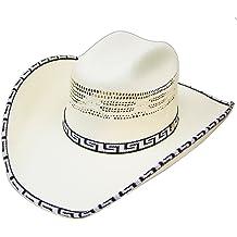 a5085bda9bc8ac Modestone Bangora Rodeo Straw Cowboy Hat Pattern Fabric Hatband/Brim Edge  White