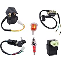 50cc ignition coil cdi box solenoid relay ignition switch key for 50cc 70cc  90cc 110cc 125cc with spark plug fuel filter chinese atv dirt bike