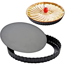 Tart Pan Round Nonstick 9.5 inch Removable Loose Bottom Quiche Pie Pan Gold by LUFEIYA