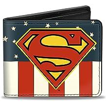 SUPERMAN MAN OF STEEL CHROMIUM PRINT BI-FOLD LEATHER WALLET