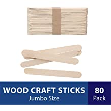 LEOBRO 5.4 Inch Disposable Wood Popsicle Sticks Multipurpose Craft Sticks for Epoxy Paint 160 PCS Long Craft Sticks for Silicone Resin Molds Wax Craft Projects Glue Resin