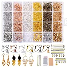 for Earring Making DIY 1300 Pcs Hypoallergenic Earring Making Kit Includes Hypoallergenic Earring Hooks ,Open Jump Rings,Earring Display Cards,Self-Adhesive Bags,Earring Backs