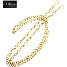 PandaHall Elite 63 inch 7.5MM Width Iron Flat Purse Chain Strap Handbags Replacement Accessories for Wallet Clutch Satchel Tote Bag Shoulder Crossbody Bag with 2 Pieces Metal Buckles Golden