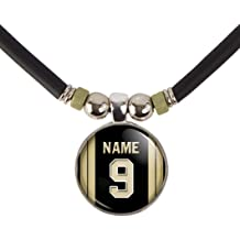 SpotlightJewels Chicago Football Jersey Pin Back Button Necklace Personalized with Your Name and Number