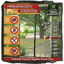 Aox Magnetic Screen Door with Full Frame Hoop /& Loop 39 x 83 Black